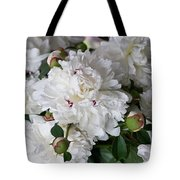 White Peony With Red Traces Tote Bag