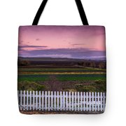 White Picket Fence Looking Over Farmland  Tote Bag