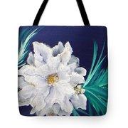 White Poinsettia On Blue Tote Bag