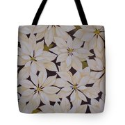 white Poinsettias Tote Bag