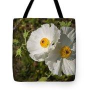 White Poppy Twins Tote Bag