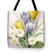 White Primroses And Early Hybrid Crocuses Tote Bag