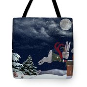 White Rabbit Christmas Tote Bag