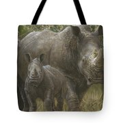 White Rhino Family - The Face That Only A Mother Could Love Tote Bag