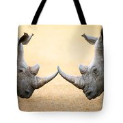 White Rhinoceros  Head To Head Tote Bag