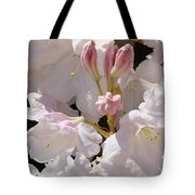 White Rhodies Pink Rhododendrons Flowers Art Prints Canvas Botanical Baslee Troutman Tote Bag
