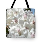 White Rhododendrons Flowers Art Prints Baslee Troutman Tote Bag