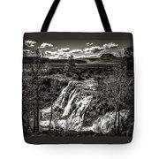 White River Falls Black  And White Tote Bag