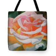 White Rose With Orange Glow Tote Bag