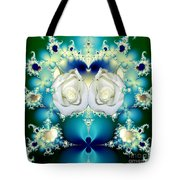 White Roses  And Blue Satin Bouquet Fractal Abstract Tote Bag