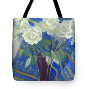 White Roses With Red And Blue Tote Bag