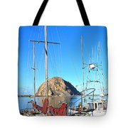 White Sail Boat Morro Rock  Tote Bag