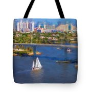 White Sailboat On The Water Tote Bag