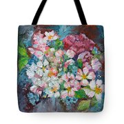 White Sakura - Floral Cherry Tree Blossom Oil Color Painting Tote Bag