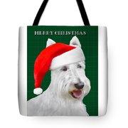 White Scottish Terrier Christmas Plaid Tote Bag