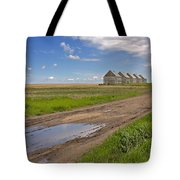 White Sheds On A Prairie Farm In Spring Tote Bag