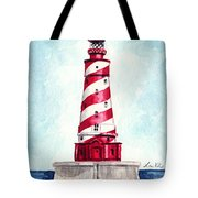 White Shoal Lighthouse Michigan Nautical Light House Red And White Candycane Stripes Tote Bag
