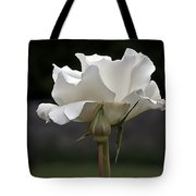 White Simplicity Rose Profile Tote Bag