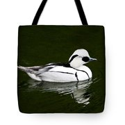 White Smew  Duck On Silver Pond Tote Bag