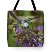 White Spider In Butterfly Bush Tote Bag