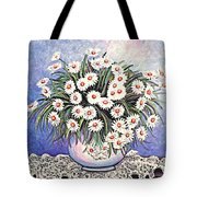 White Straw Flowers Two Tote Bag