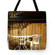 White Table With Chairs Tote Bag