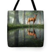 White Tailed Deer Reflected Tote Bag