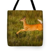 White-tailed Doe Leaping Tote Bag