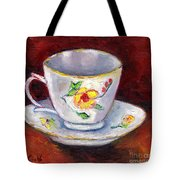 White Tea Cup With Yellow Flowers Grace Venditti Montreal Art Tote Bag
