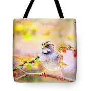 White Throated Sparrow - Digital Paint 1                                             Tote Bag