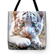White Tiger Cub Tote Bag