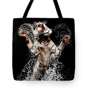 White Tiger Jumping In Water Tote Bag