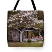 White Tree And Old Barn Tote Bag