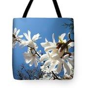 White Tree Flowers Art Prints Magnolia Blue Sky Floral Baslee Troutman Tote Bag