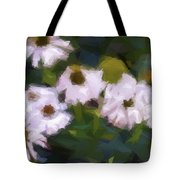 White Triangle Flowers Tote Bag