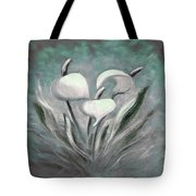 White Tropical Flowers Tote Bag