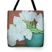 White Tulilps In Blue Vase Tote Bag