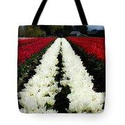 White Tulip Rows Tote Bag