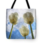 White Tulips And Cloudy Sky Digital Watercolor Tote Bag