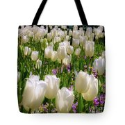 White Tulips In Bloom Tote Bag
