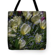 White Tulips In The Garden Tote Bag
