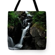 White Water Black Rocks Tote Bag