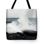 White Waves Black Rocks Tote Bag