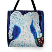 White Wedding Dress On Blue Tote Bag