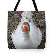 White Wild Duck Sitting On Gravel Tote Bag