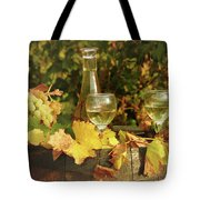 White Wine And Grape In Vineyard Tote Bag