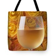 White Wine And Yellow Roses Tote Bag