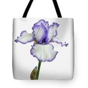 White With Purple Trim Bearded Iris  Tote Bag