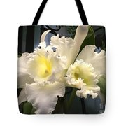 White With Yellow Orchids  Tote Bag
