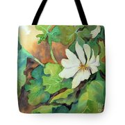 White Woodland Flower Tote Bag